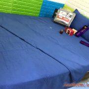 chăn ga gối đơn sắc màu xanh đậm vải micron hàn quốc
