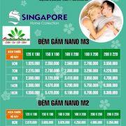 Bảng giá Đệm Singapore Nano Gấm