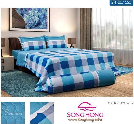 Bộ chăn ga gối Sông Hồng mã C17-C51 cotton