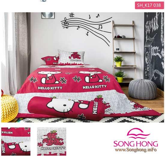 Bộ chăn ga gối Hello Kitty thương hiệu Sông Hồng mã K17 – 038