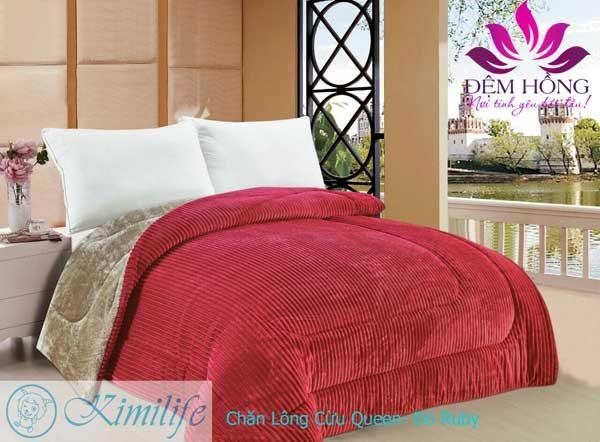 Chăn lông cừu Kimilife Japan dòng Queen màu Hồng Ruby