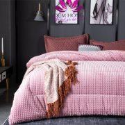 Chăn lông cừu pháp Nicolas màu hồng