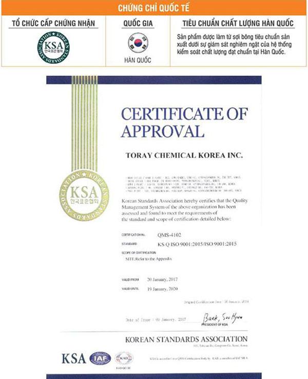 Chứng nhận sản phẩm nệm đạt tiêu chuẩn Hàn Quốc
