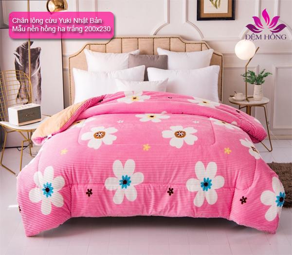 Chăn lông cừu Yuki Nhật Bản họa tiết hoa nền hồng